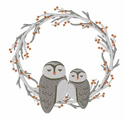 Owl Wreath embroidery design