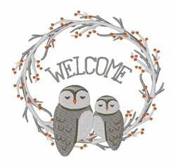 Owl Welcome embroidery design
