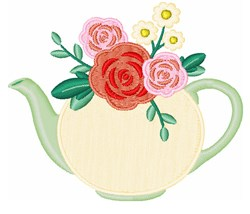 Floral Tea Pot embroidery design