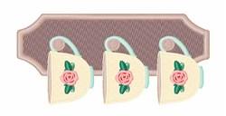 Floral Tea Cups embroidery design