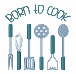 Born To Cook embroidery design
