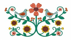 Folk Flower Birds embroidery design