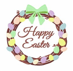 Happy Easter Wreath embroidery design