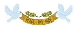 Peace Love Hope embroidery design