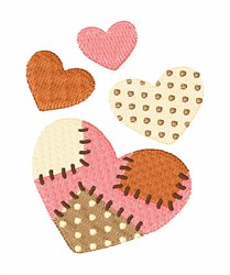 Patchwork Hearts embroidery design