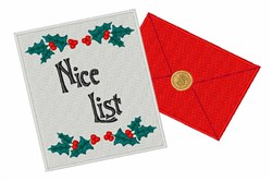 Nice List embroidery design