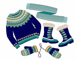 Winter Clothing embroidery design