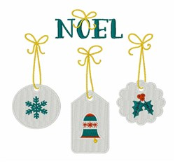 Noel Tags embroidery design
