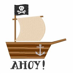 Pirate Ship Ahoy embroidery design