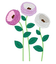 Ranunculus Flowers embroidery design