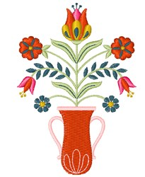 Folk Art Vase embroidery design