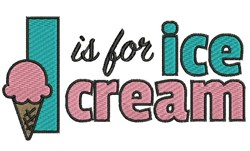 I Is For Ice Cream embroidery design