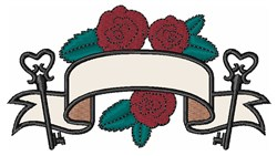 Flower & Key Banner embroidery design