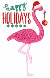 Happy Holidays Flamingo embroidery design