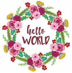 Floral Wreath Hello World embroidery design
