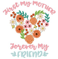 Mother & Friend embroidery design
