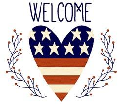 Welcome Heart embroidery design