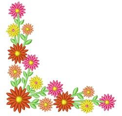 Daisy Flower Corner embroidery design