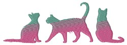 Ombre Cat Silhouette Border embroidery design