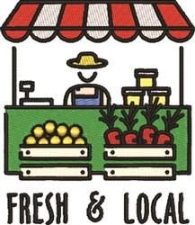 Fresh, Local Farmers Market embroidery design
