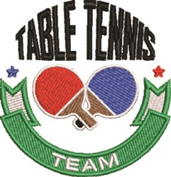 Table Tennis Team embroidery design