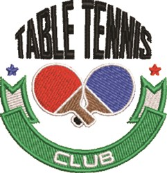 Table Tennis Club embroidery design