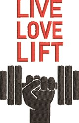 Live Love Lift embroidery design