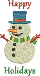 Happy Holidays Snowman embroidery design