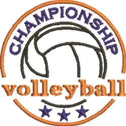 Volleyball  Champion embroidery design