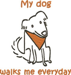 My Dogs Walk Me embroidery design