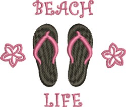 Beach Life Flip Flops embroidery design