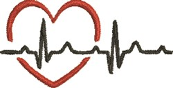 EKG Heart embroidery design