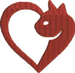 Heart Cat embroidery design