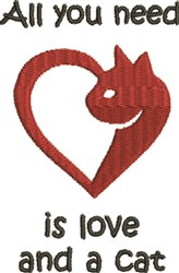 Love And A Cat embroidery design