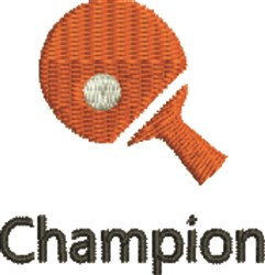 Table Tennis Champion embroidery design