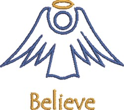 Believe Angel embroidery design