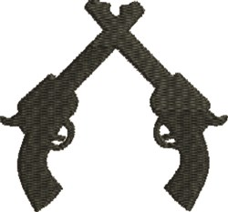 Crossed Pistols Silhouette embroidery design