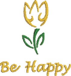 Be Happy Tulip Outline embroidery design