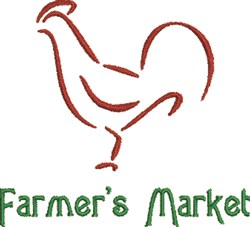 Farmers Market Rooster embroidery design