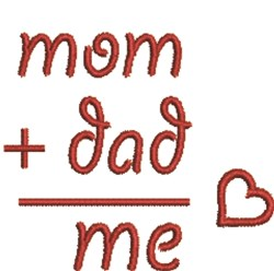 Mom, Dad & Me embroidery design