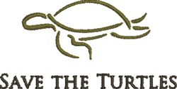 Save The Turtles embroidery design