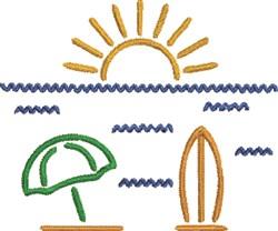 Beach Outline Scene embroidery design