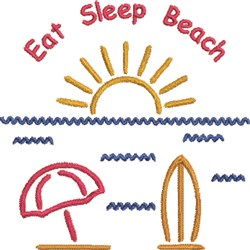 Eat, Sleep, Beach embroidery design