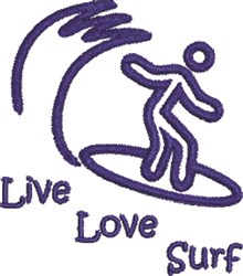 Live, Love, Surf embroidery design