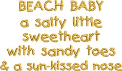 Beach Baby 3 embroidery design