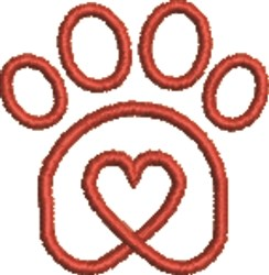 Paw Heart 3 embroidery design