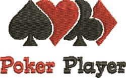 Poker Player embroidery design