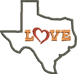 Love Texas Outline embroidery design
