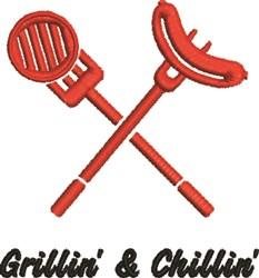 Grillin & Chillin embroidery design