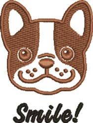 French Bulldog Smile embroidery design